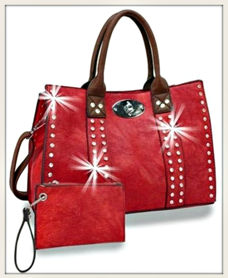 TOUCH OF GLAM HANDBAG Rhinestone Studded Red Leather Handbag & Coin Purse Set