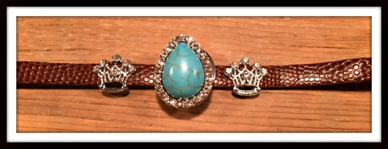 "COWGIRL GLAM BRACELET Rhinestone Turquoise Charm on Embossed Leather ""SNAP"" Bracelet"