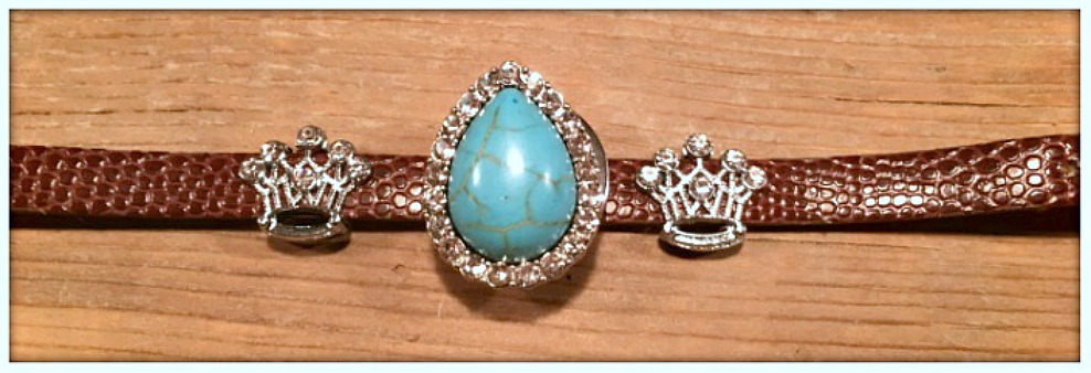 "GOING GLAM BRACELET Rhinestone Turquoise Charm on Embossed Leather ""SNAP"" Bracelet"