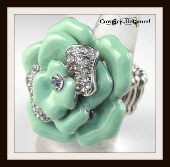 COWGIRL GYPSY RING Rhinestone and Mint Green Enamel Rosette Ring