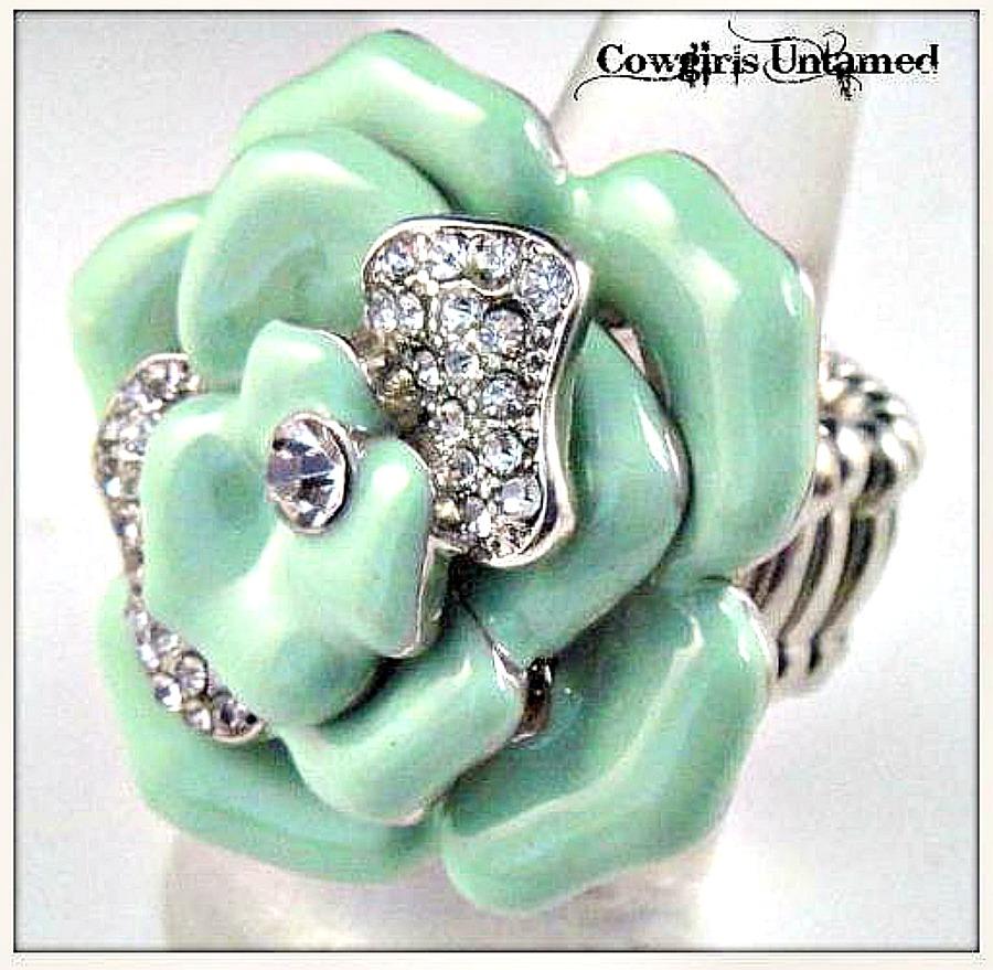 COWGIRL GYPSY RING Rhinestone and Mint Green Enamel Rosette Ring