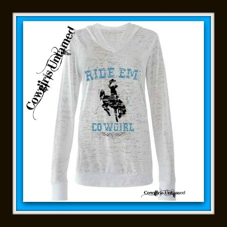 """RODEO REBEL HOODIE Blue """"Rid'em Cowgirl"""" with Horse Graphic White Burnout Sweatshirt"""