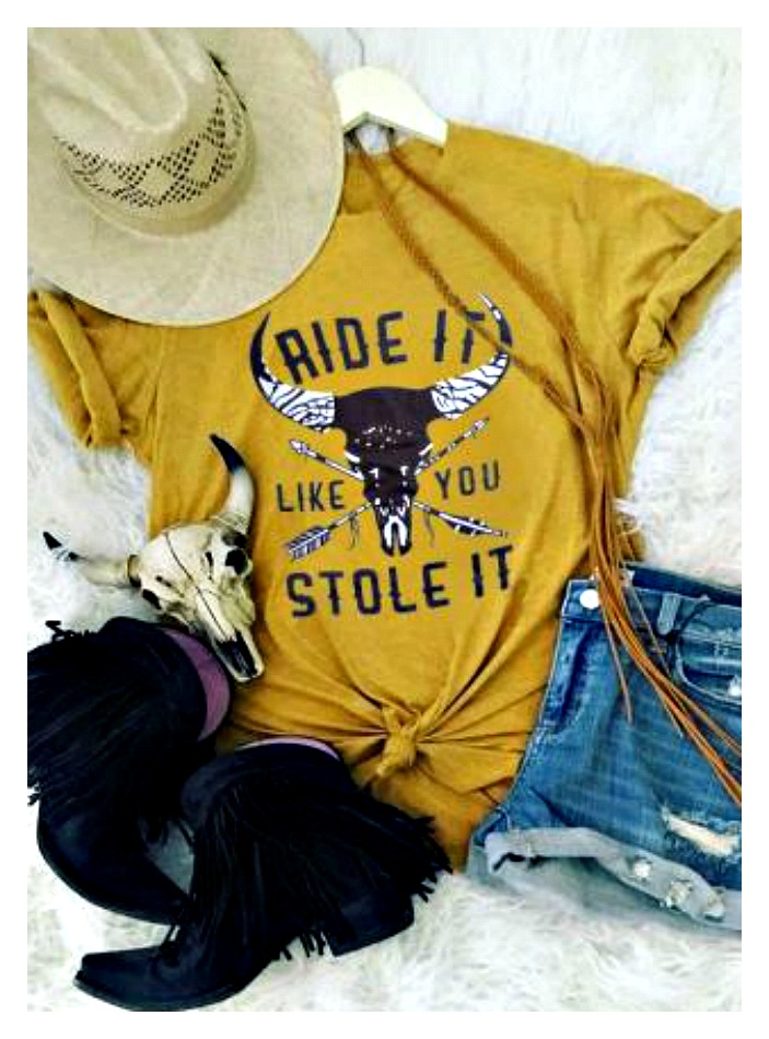 "COWGIRL STYLE TOP ""Ride Like You Stole It"" Steer Skull Arrows Golden T-Shirt"