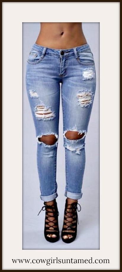 COWGIRLS ROCK JEANS Light Denim Medium Rise Distressed Skinny Jeans