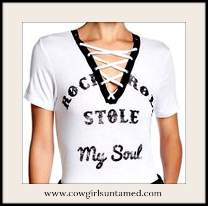 "COWGIRLS ROCK TOP ""Rock N Roll Stole My Soul"" Lace Up Glitter Graphic Short Sleeve Tee"