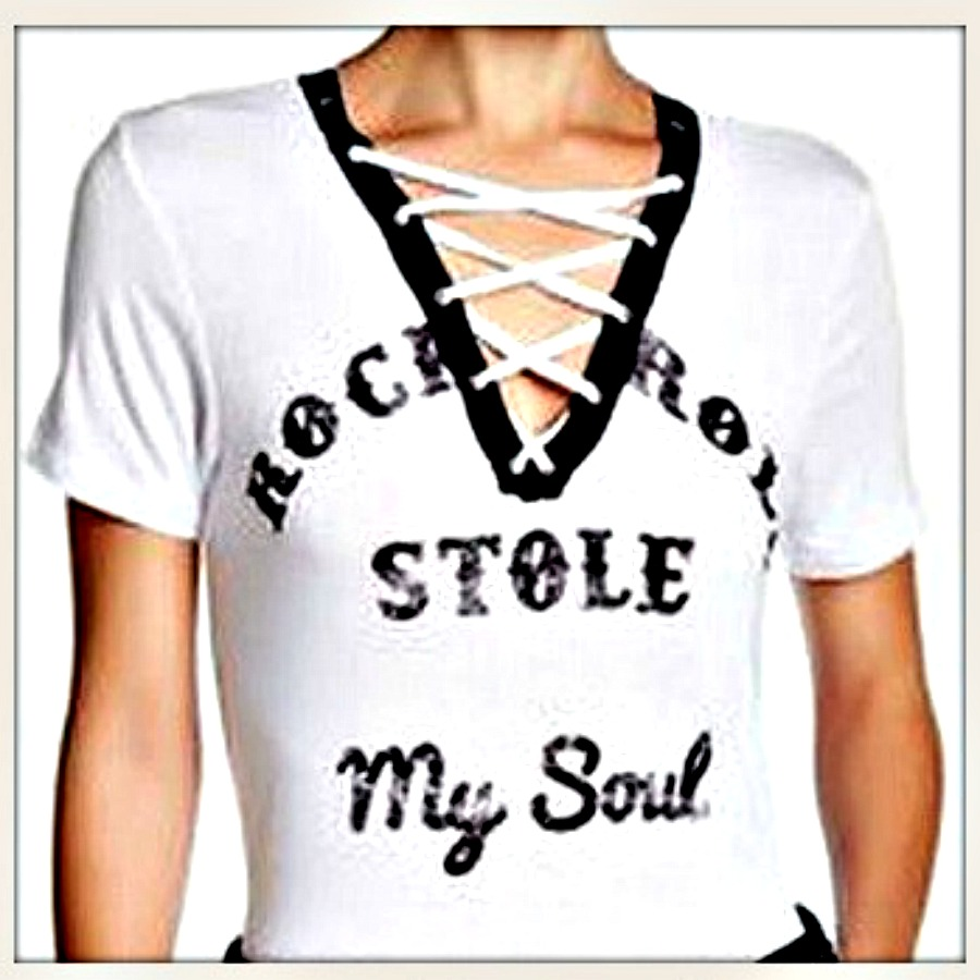 "ROCK n ROLL TOP ""Rock N Roll Stole My Soul"" Lace Up Glitter Graphic Short Sleeve Tee"