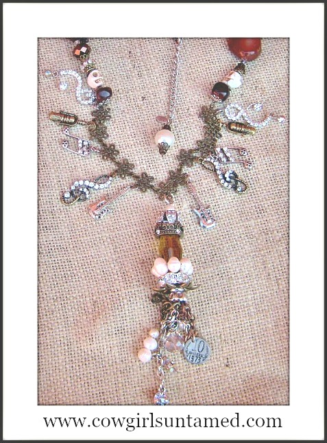 COWGIRLS ROCK NECKLACE Silver N Bronze Rhinestone Music Charm Pearl Crystal Crown Tassel Pendant Necklace