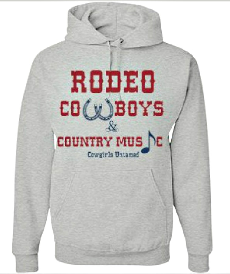 "COWGIRL STYLE SWEATSHIRT Red and Blue ""Rodeo Cowboys & Country Music"" Grey Hoodie"