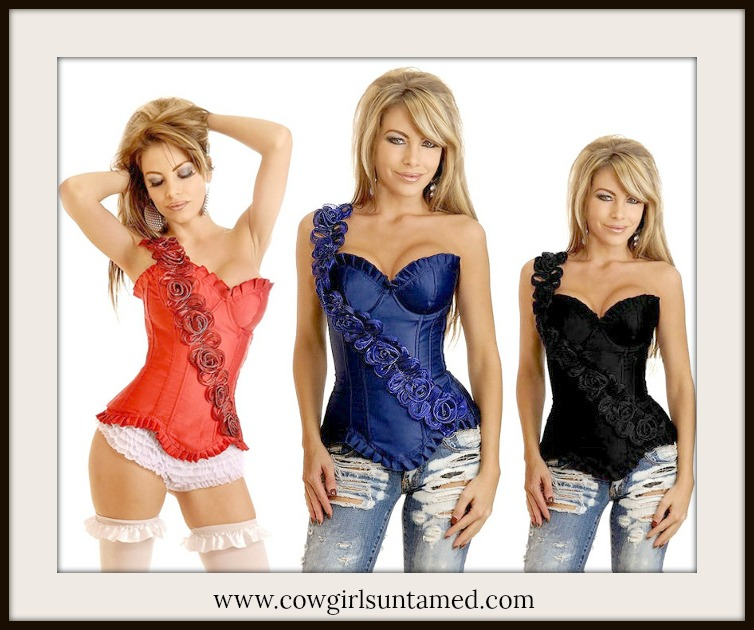 CORSET - Rosette One Shoulder Strap Boned Western Corset Top  3 COLORS!!