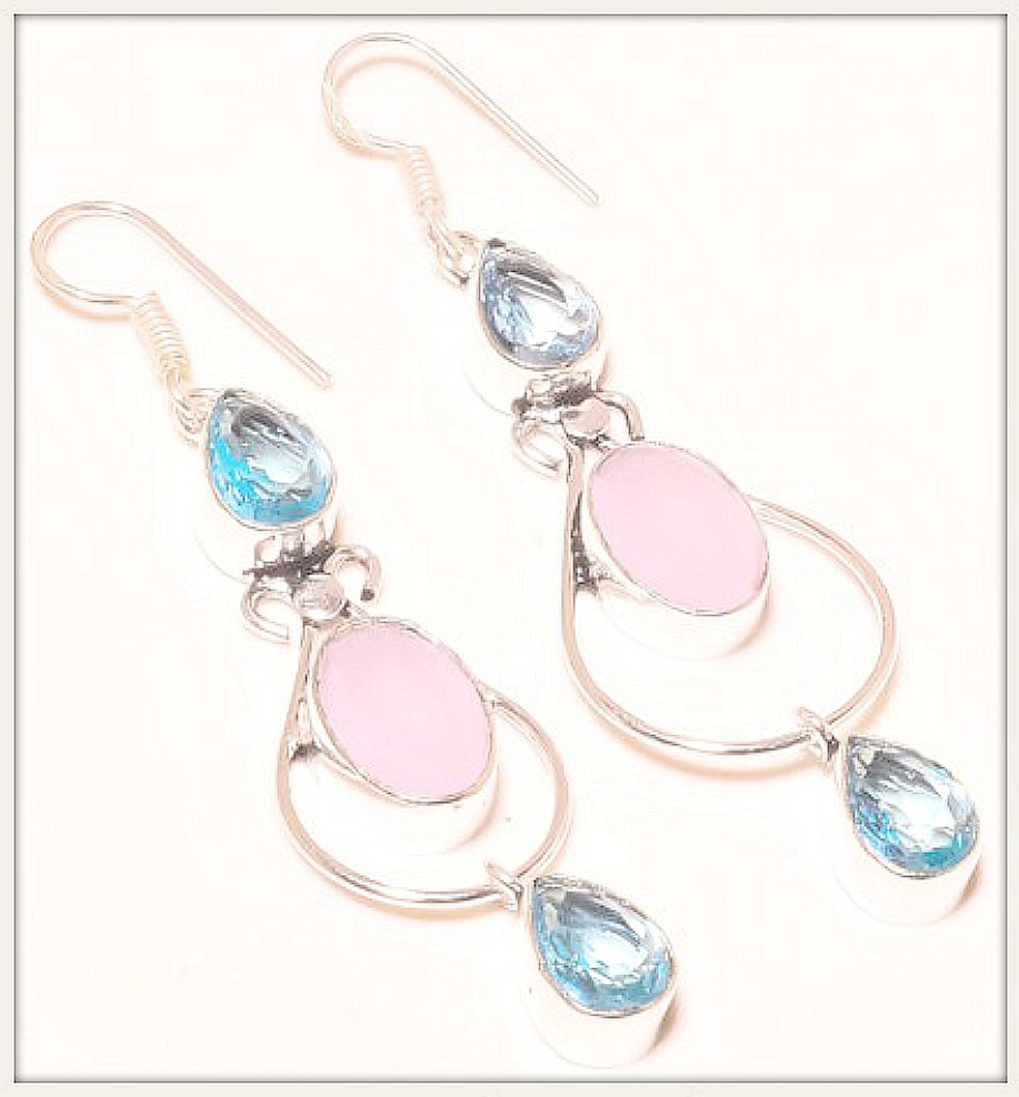 BOHEMIAN COWGIRL EARRINGS Rose Quartz & Blue Topaz Gemstone Sterling Silver Earrings