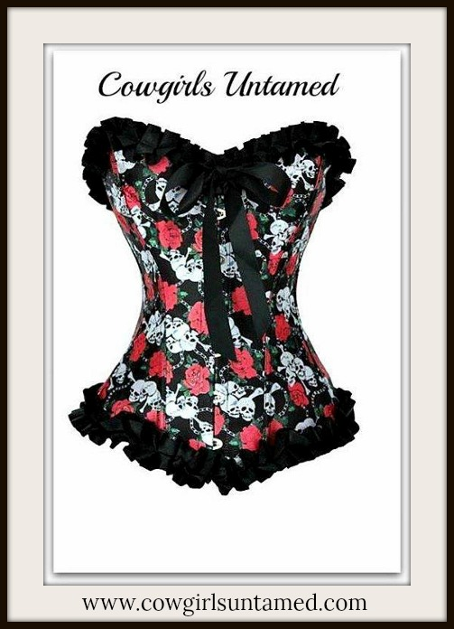 CORSET - Hot Pink Skull and Rose Black Satin Ruffle Lace Up Corset Top