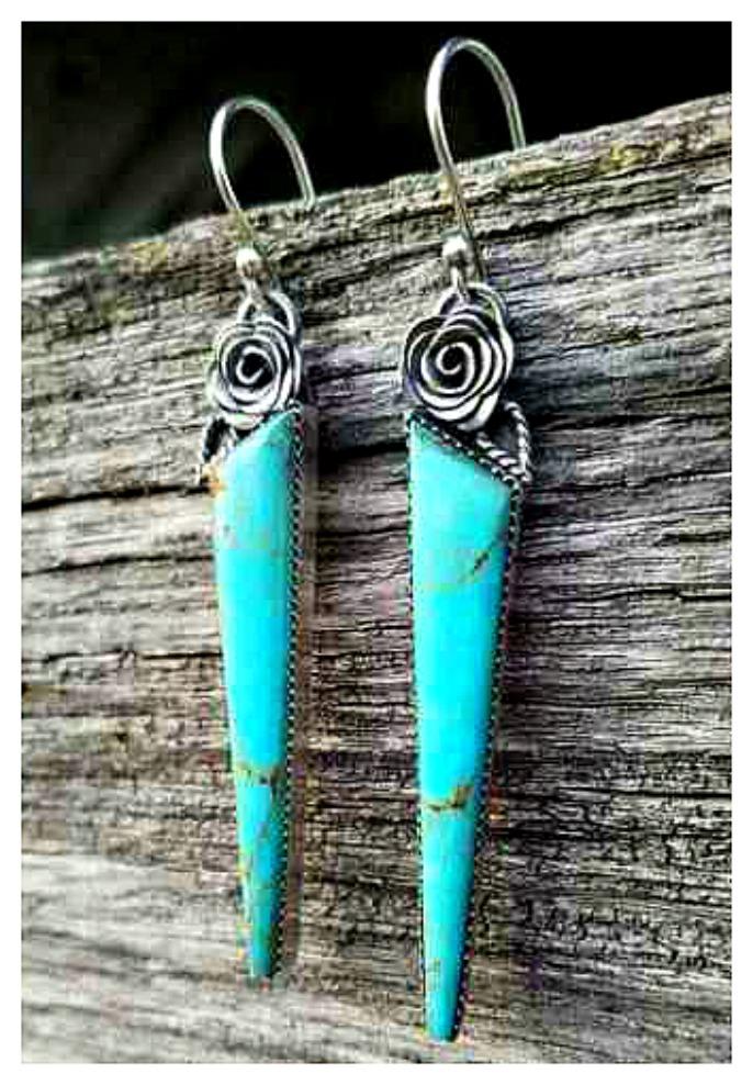 BOHEMIAN COWGIRL EARRINGS Vintage 925 Sterling Silver Turquoise Dangle Boho Rose Earrings