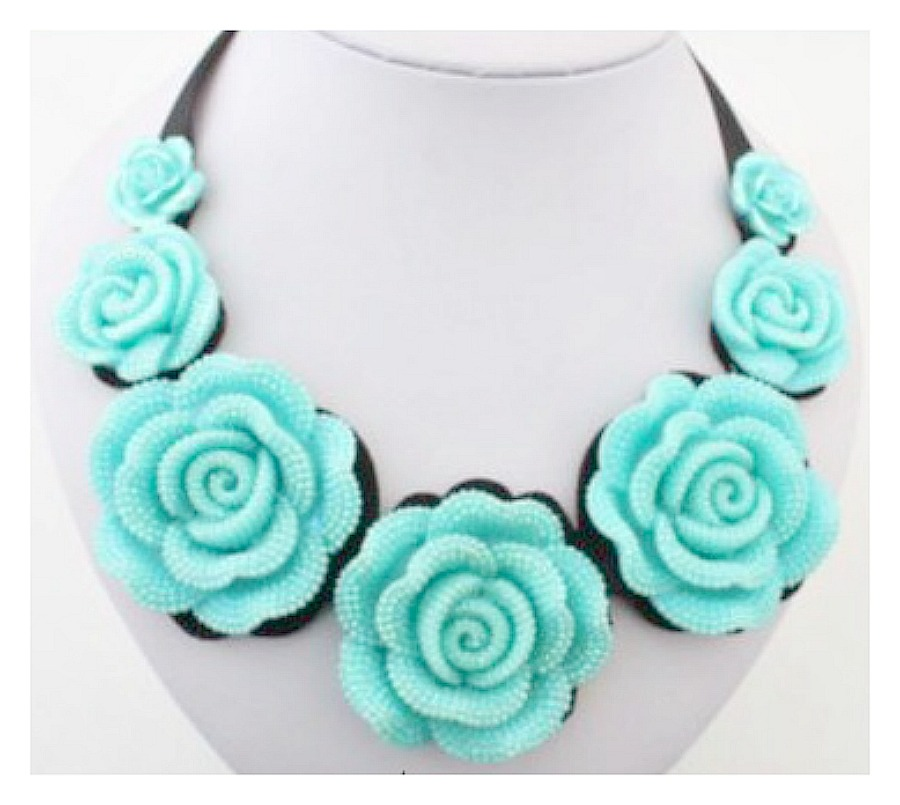 GOING GLAM NECKLACE Aqua Rose Black Ribbon Choker Bib Necklace