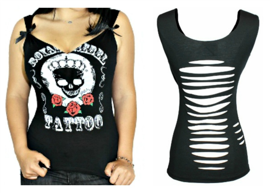 """DEMI LOON TOP """"Royal Rebel Tattoo"""" Crowned Skull and Roses Slashed Back Tank Top LAST ONE L/XL"""