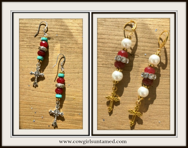 COWGIRL GYPSY EARRINGS Ruby Gemstone Rhinestone and Pearl Cross Earrings