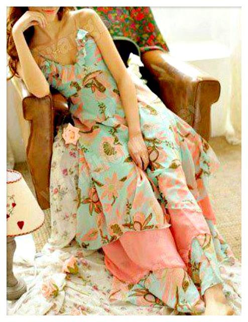 COWGIRL GYPSY DRESS Ruffled Floral Empire Waist Halter Boho Seafoam Green Summer Dress