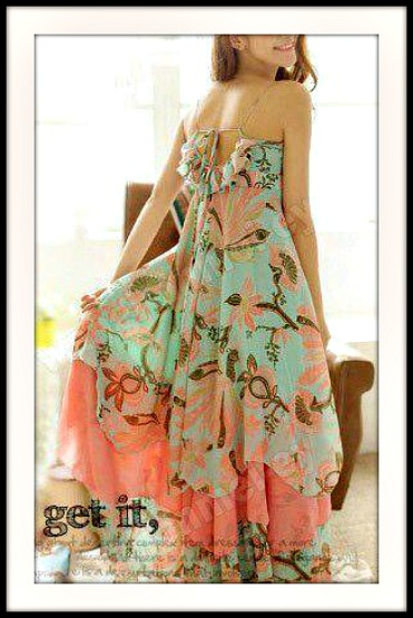 Floral Gypsy Chiffon Halter Empire Dress Western Multi Color Cowgirl Sexy Summer Dress