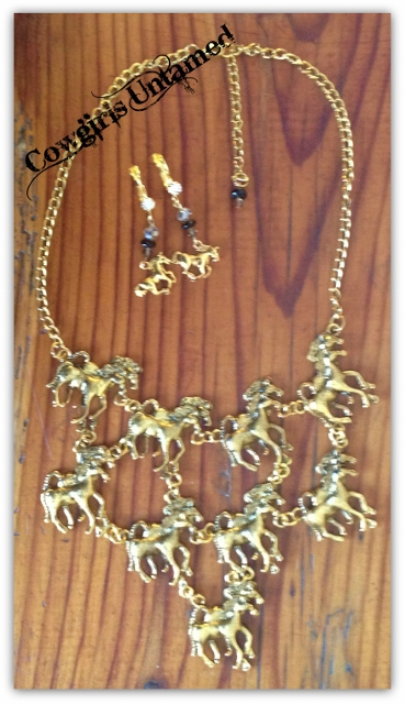 "HORSE LOVIN' COWGIRL NECKLACE SET ""Running Horses"" Western Statement Necklace & Earrings SET"