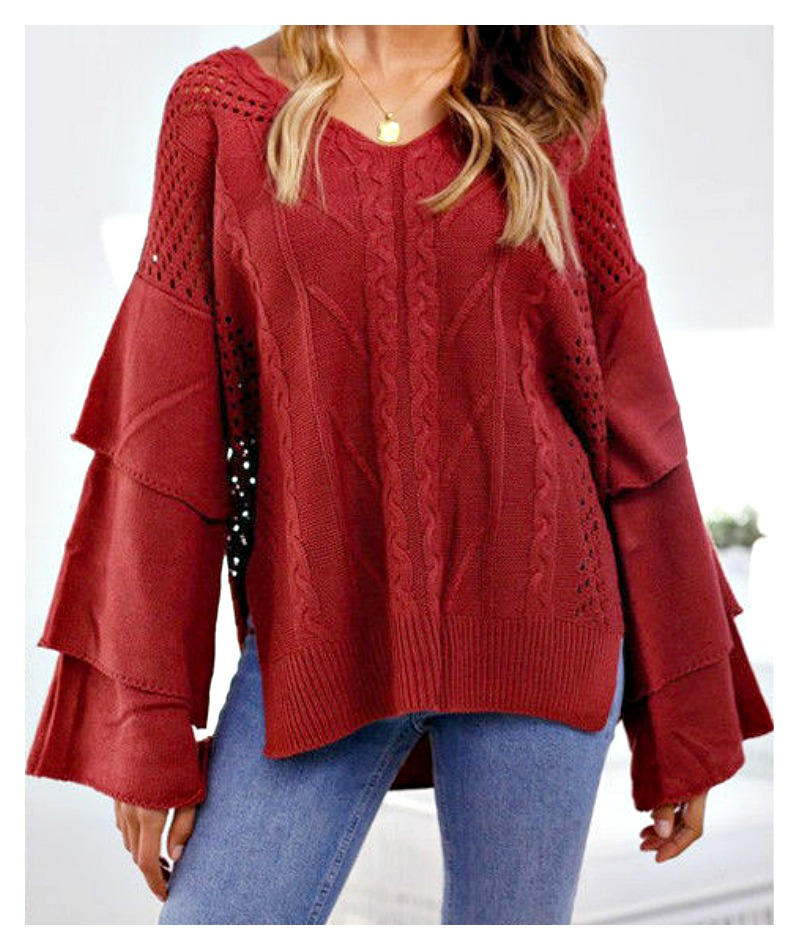 THE MARAKESH SWEATER V Neck Ruffle Bell Sleeve Rust Red Boho Sweater