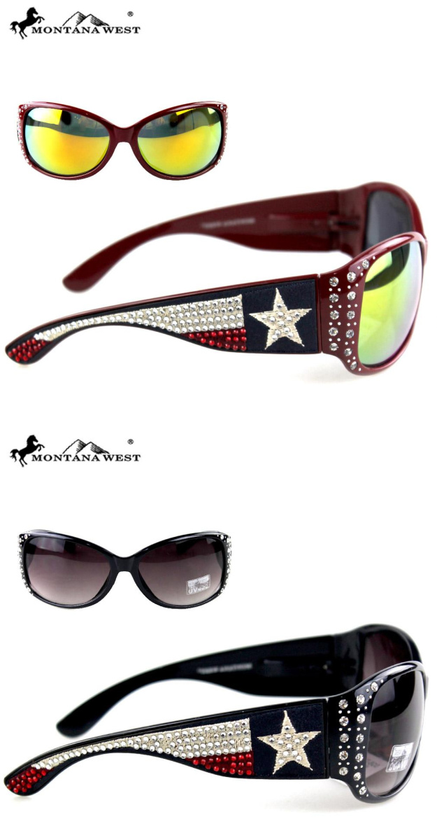 AMERICAN COWGIRL SUNGLASSES Montana West Crystal USA Texas Flag Stars N Stripes Blue Red White Western Sunglasses 3 COLORS