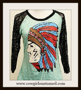 AMERICAN COWGIRL TOP Red & Blue Indian Chief 3/4 Black Lace Sleeve on Aqua Burnout PLUS SIZE Tee