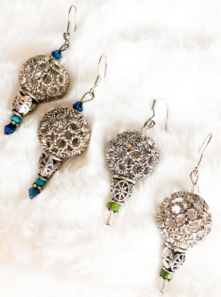 BOHEMIAN COWGIRL EARRINGS Antique Silver Filigree Gemstone Boho Dangle Earrings  2 COLORS!