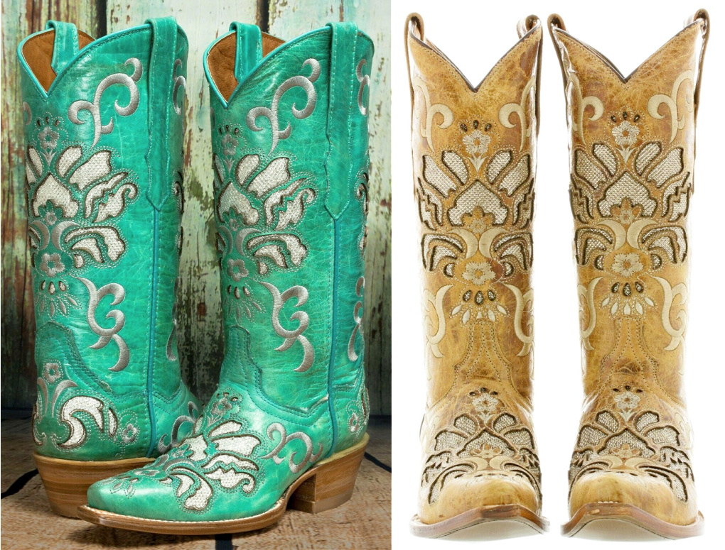 COWGIRL STYLE BOOTS Creamy Silver Embroidery with Silver Underlay GENUINE LEATHER Boots SIZES 5.5-11 2 COLORS
