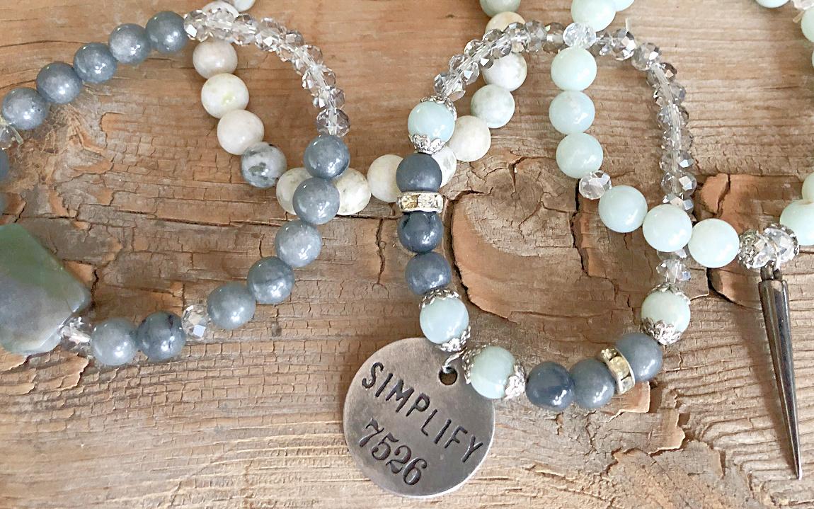 "SIMPLIFY BRACELET Handmade Antique Silver ""Simplify"" Gunmetal Charms Green & Grey Gemstone Crystal Beaded Bracelet Set of 4"
