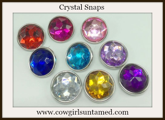 SNAP ON JEWELRY BUTTONS Multi Color Crystal SNAP ON Jewelry Buttons SET