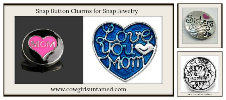 "SNAP ON JEWELRY BUTTONS Silver ""Love You Mom"", Baby Feet,  ""Mom"", ""Sisters"""