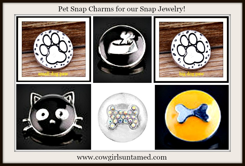 SNAP ON BUTTON CHARMS Enamel Silver and Crystal Snap Charms Related to Pets