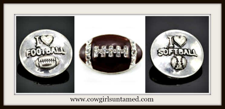 "SNAP ON JEWELRY BUTTONS Silver ""I Love Softball"", Rhinestone Brown Enamel Football, and ""I Love Football"" Snap Charms"