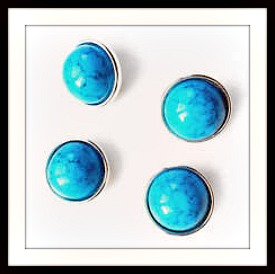SNAP ON JEWELRY BUTTONS Turquoise SNAP ON Jewelry Buttons