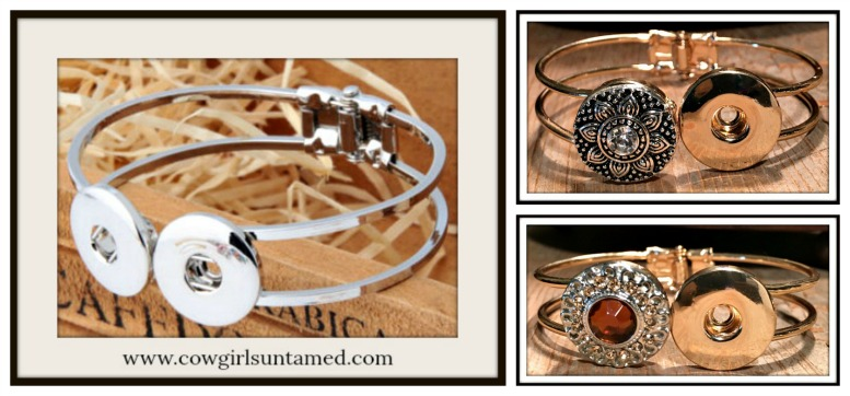 COWGIRL ATTITUDE BRACELET Double Snap Charm Bracelet w/ 2 FREE Snap Charms