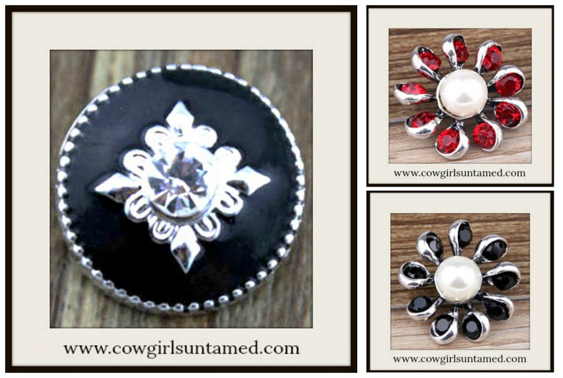 SNAP ON JEWELRY BUTTONS Silver Crystal Snap Charms  3 Designs!