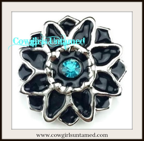 SNAP ON BUTTON CHARMS Blue Crystal on Black Enamel Flower Charm