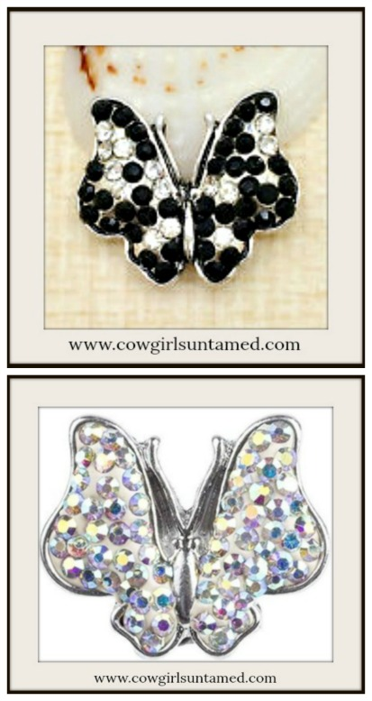 SNAP ON BUTTON CHARMS Crystal Butterfly Charms  2 COLORS!