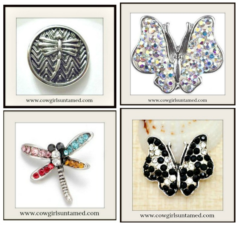 SNAP ON JEWELRY BUTTONS Crystal Butterfly Charms  4 STYLES!