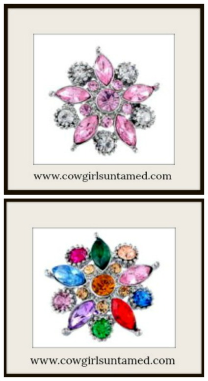 SNAP ON JEWELRY BUTTONS Crystal Flower Snap Charms  2 Colors!