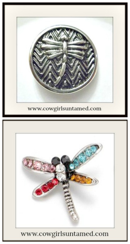 SNAP ON JEWELRY BUTTONS Dragonfly Charms  2 Styles