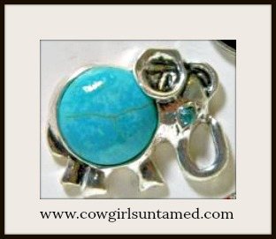 SNAP ON JEWELRY BUTTONS Turquoise Silver Boho Elephant