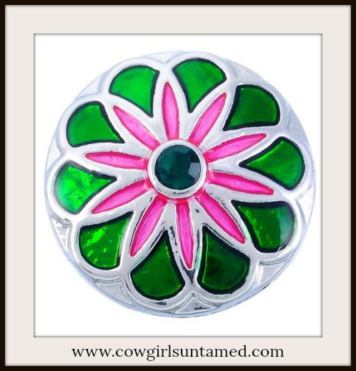 SNAP ON JEWELRY BUTTONS Green & Pink Flower Enamel Silver Charm