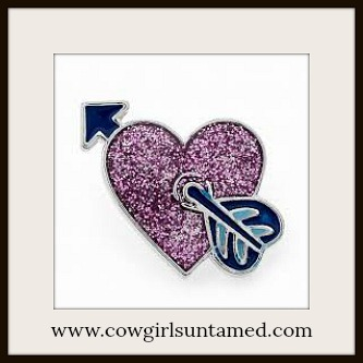 SNAP ON JEWELRY BUTTONS Sparkly Pink Heart with Arrow