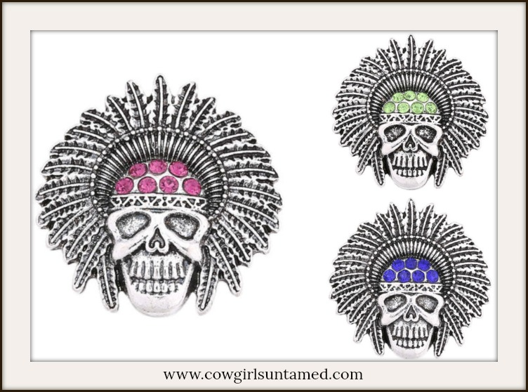 SNAP ON JEWELRY BUTTONS Rhinestone Indian Chief Skull Charms  3 COLORS!