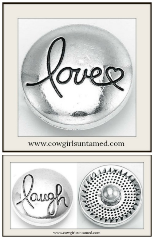 "SNAP ON JEWELRY BUTTONS Silver ""laugh"" and ""love"" Snap Charms"