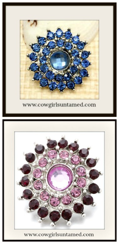 SNAP ON JEWELRY BUTTONS Beautiful Rhinestone Flower Charms  2 COLORS!