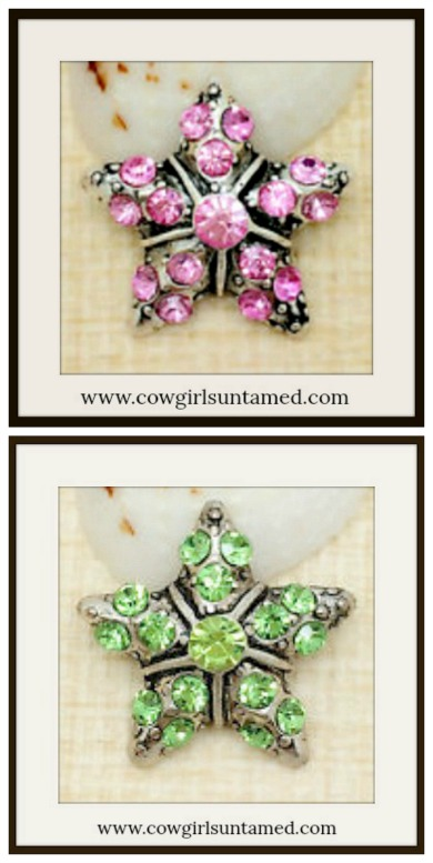 SNAP ON BUTTON CHARMS Rhinestone Silver Stars