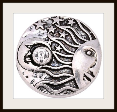 SNAP ON JEWELRY BUTTONS Boho Rhinestone Moon and Sun Snap Charm