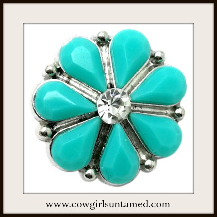 SNAP ON JEWELRY BUTTONS Rhinestone Center Silver Turquoise Flower Charm