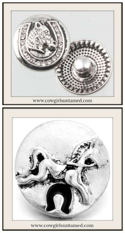 SNAP ON JEWELRY BUTTONS Silver Horse Charms